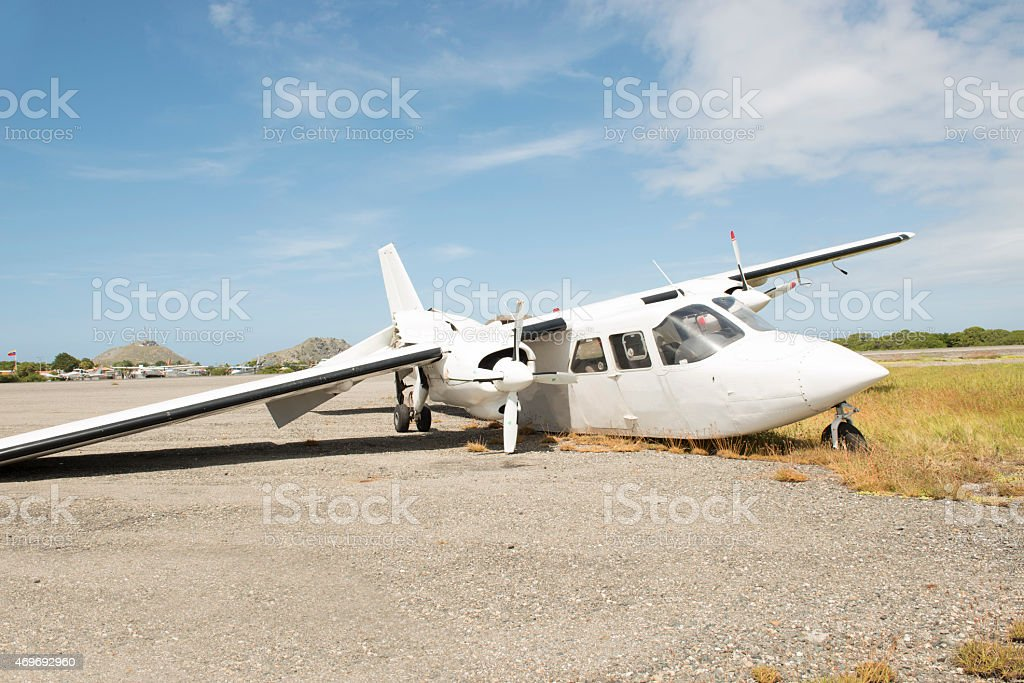 Crashed Aircraft at Gran Roque Archipelago stock photo