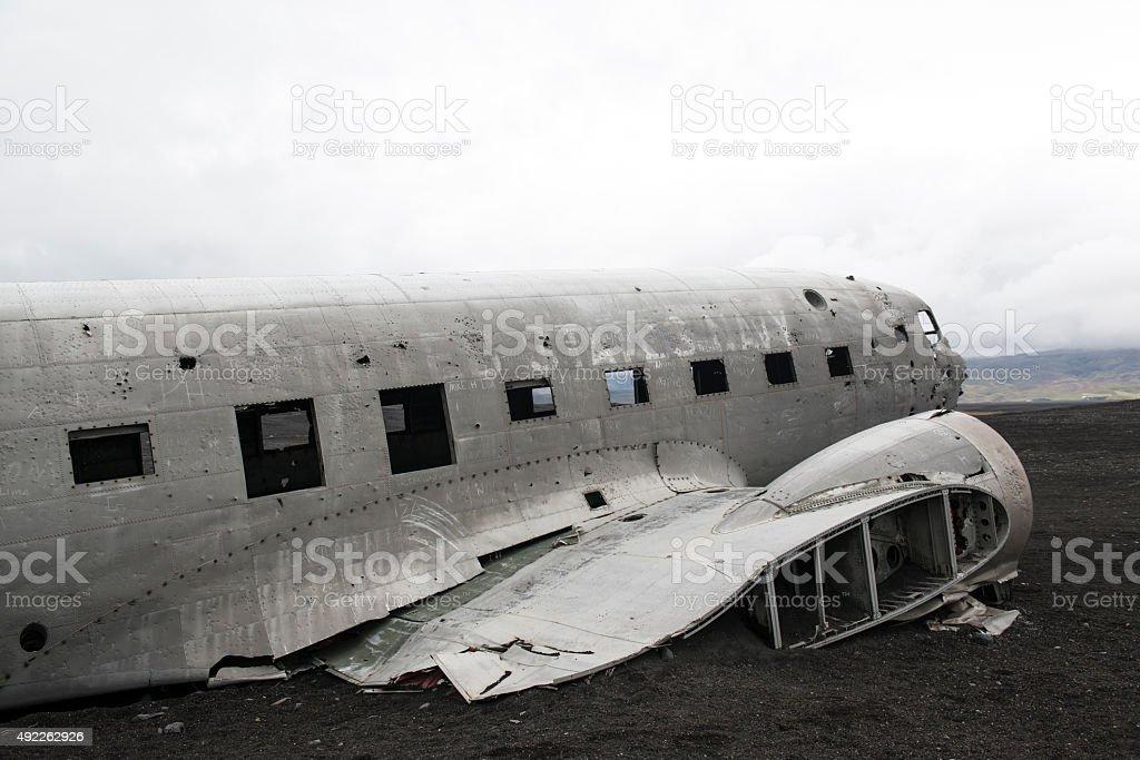 Crashed airplane, Douglas DC3, Iceland stock photo