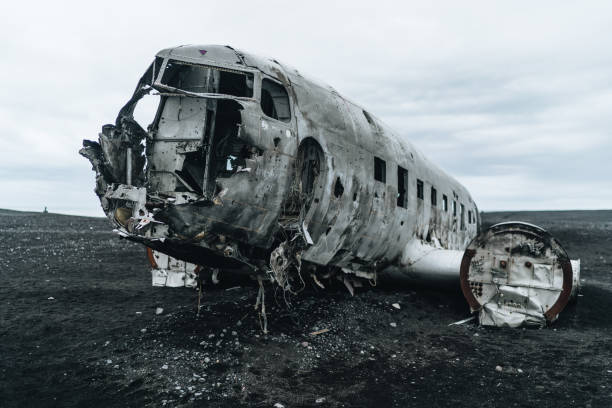 Crashed airplane in Iceland stock photo
