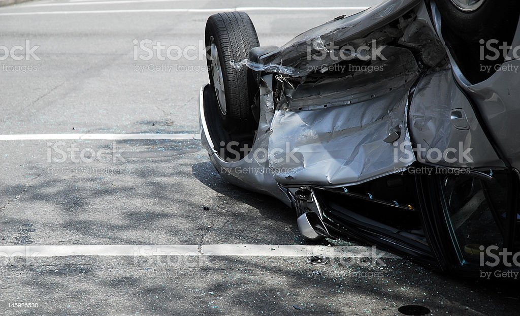 Crashed and Upside Down royalty-free stock photo