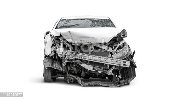 istock crashed car in front side, Car insurance concept 1152232977