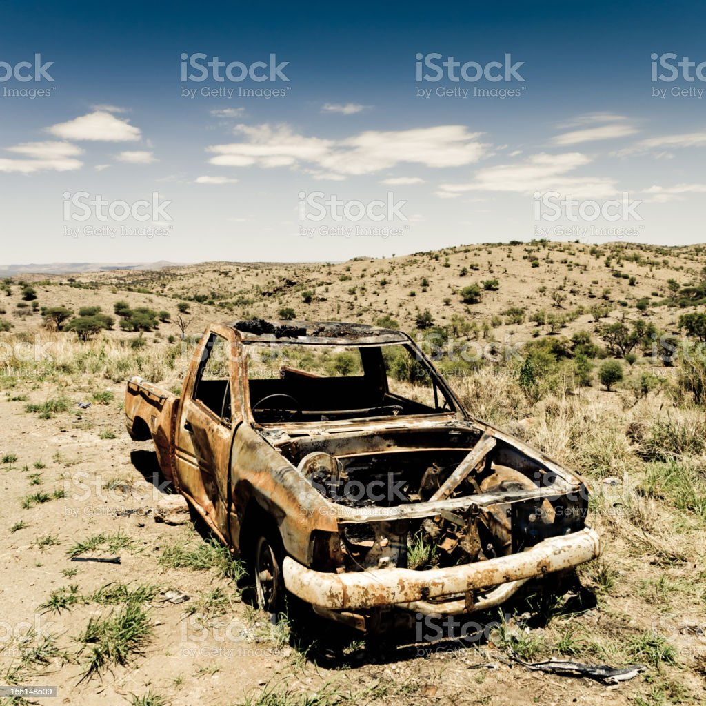Crashed Car in the Desert royalty-free stock photo