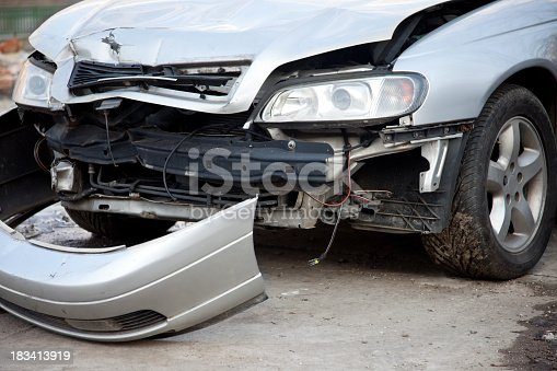 Front part of a damaged car