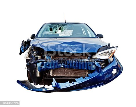Front view of a crashed car isolated on white.