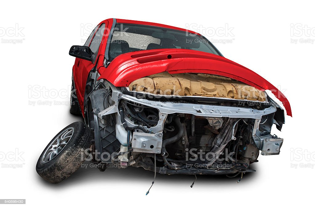 Crashed car stock photo