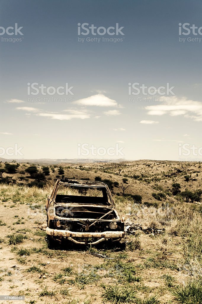 Crashed Car, the Middle of Nowhere. royalty-free stock photo