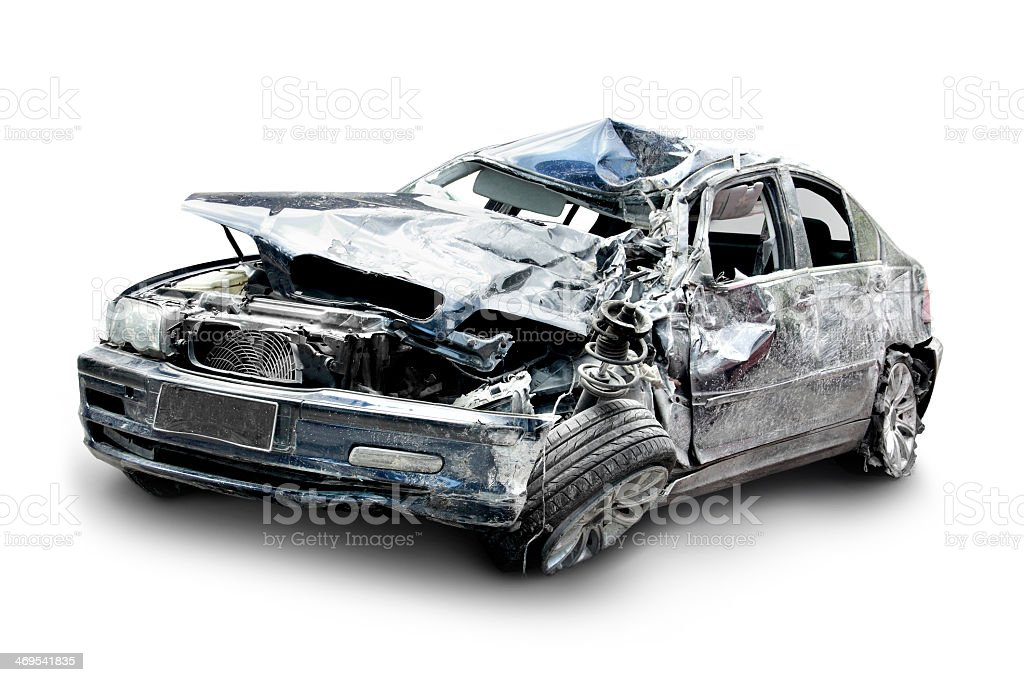 Crashed gray car with hood smashed in and tire falling off stock photo