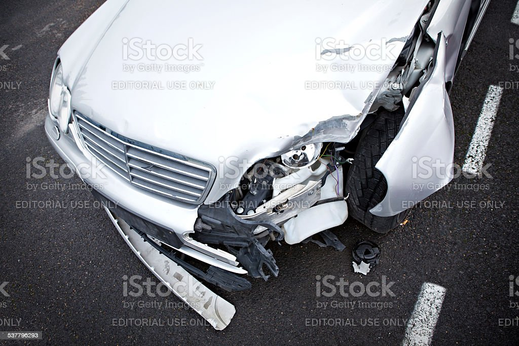 crashed mercedes stock photo
