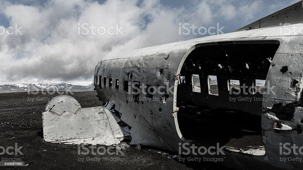 Crashed plane stock photo
