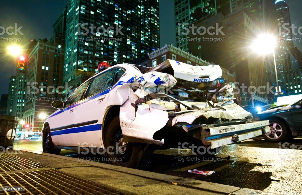 Crashed Police Car royalty-free stock photo