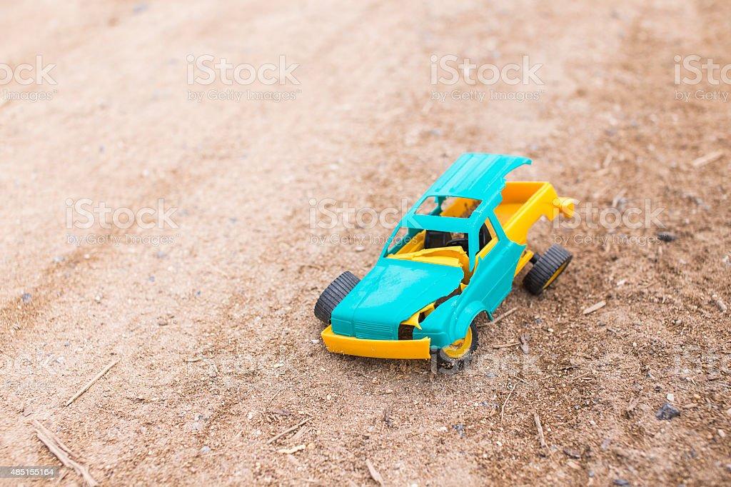 crashed toy car stock photo