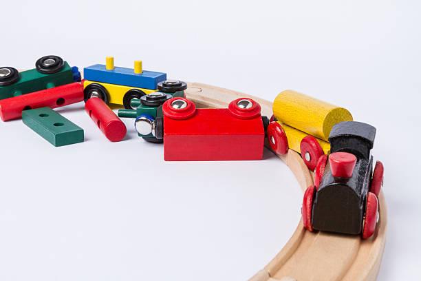 crashed wooden toy train - derail bildbanksfoton och bilder