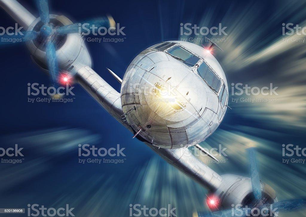 crashing airplane stock photo
