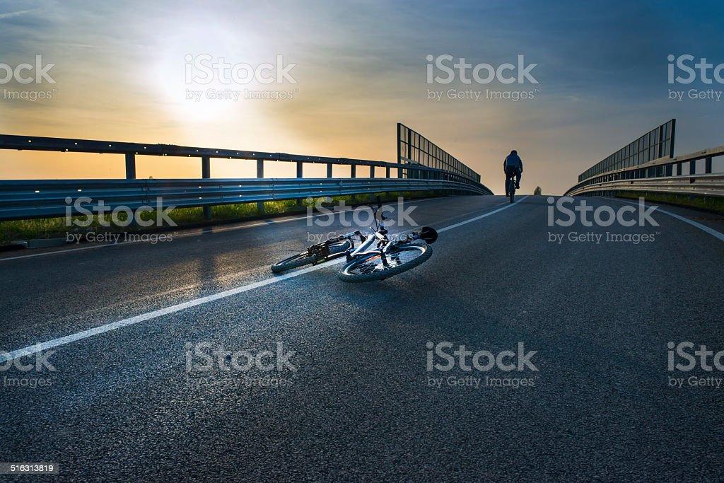 crashing bicycle accident stock photo