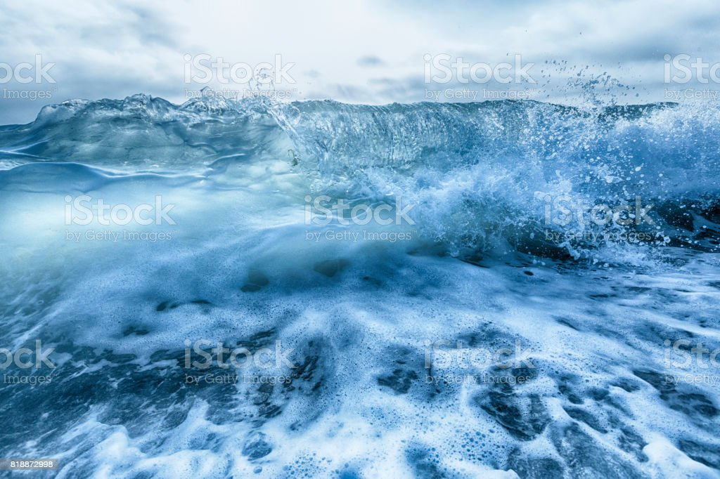 Crashing blue and white waves stock photo