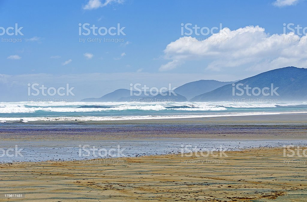Crashing Waves on a windy day from an Island Beach stock photo