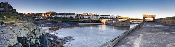 Craster Harbour panoramic stock photo