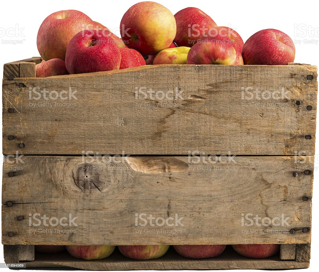 crate full of apples stock photo