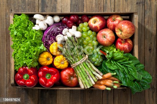 Fruits and Vegetables Basket. High Angle View