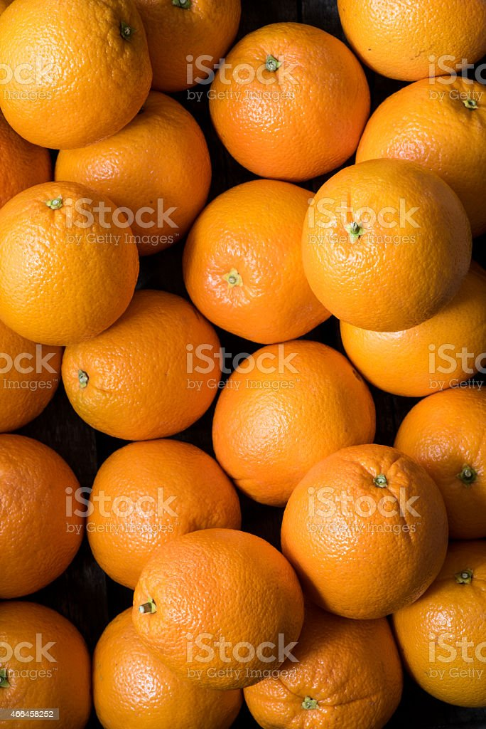 Crate Full of Navel Oranges Shot from Directly Above royalty-free stock photo