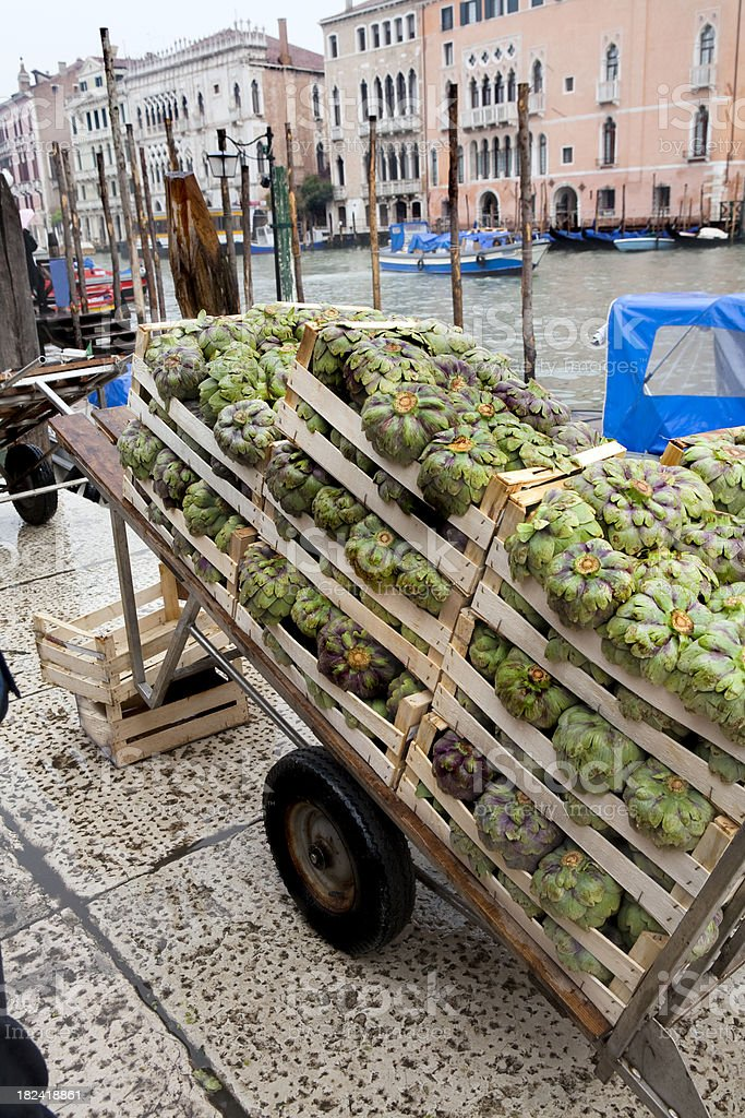 Crate of Artichokes at Market in Venice royalty-free stock photo