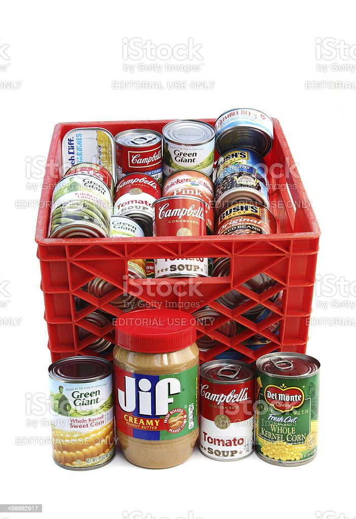 Crate of canned foods royalty-free stock photo