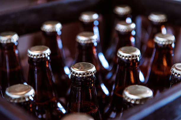 Crate of Freshly Bottled Beer stock photo