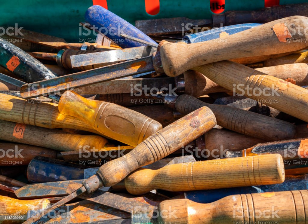 Crate Of Old Woodworking Tools For Sale On A Market Stall In Swaffham Norfolk Stock Photo Download Image Now Istock