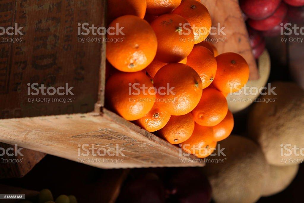 Crate of oranges stock photo