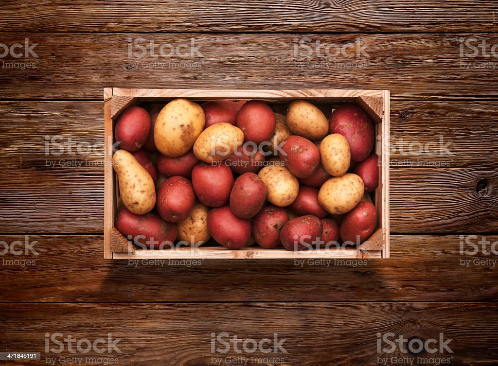 Crate of Potatoes on Wooden Background royalty-free stock photo