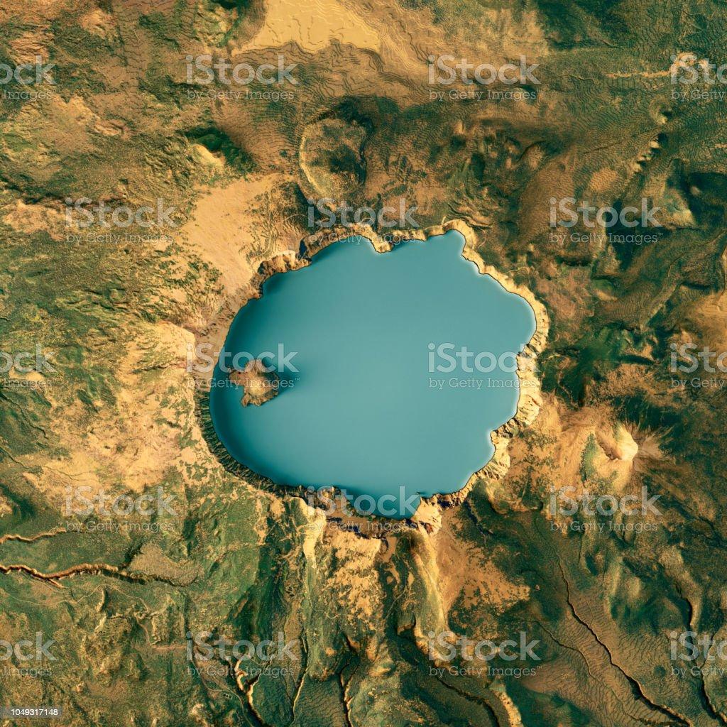 Crater Lake 3D Render Topographische Karte Farbe – Foto