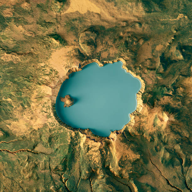 Crater Lake 3D Render Topographic Map Color stock photo