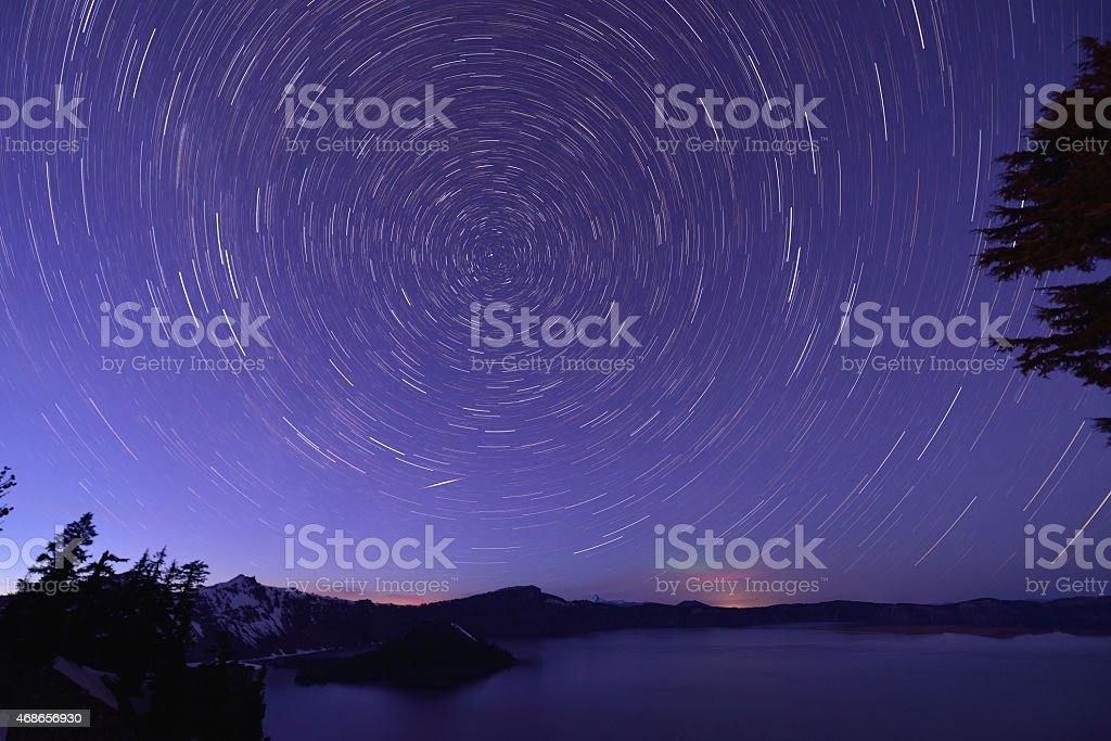 Crater Lake and Star trails, Oregon stock photo