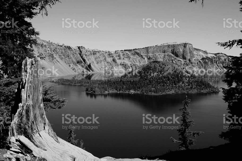 Crater Lake and Wizard Island, Oregon, USA royalty-free stock photo