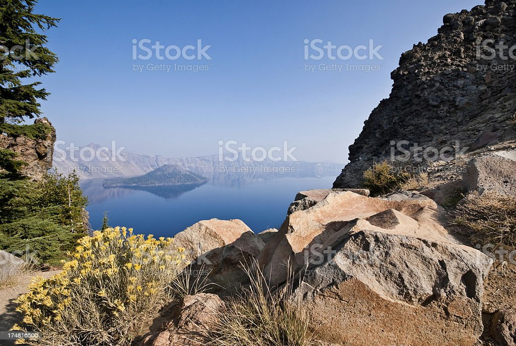 Yellow Wildflowers and Rocks Above Crater Lake royalty-free stock photo
