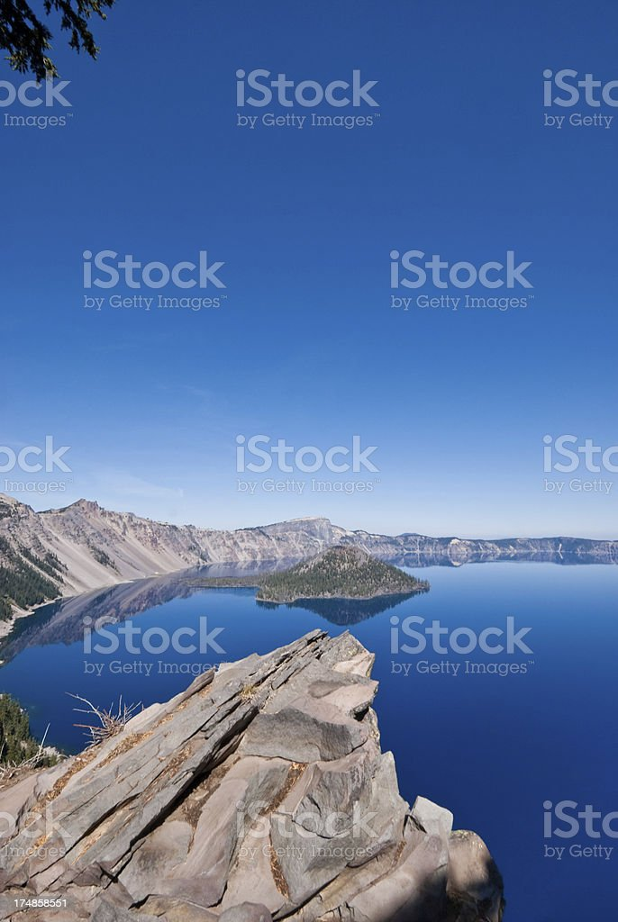 Rock Outcrop Overlooking Crater Lake royalty-free stock photo