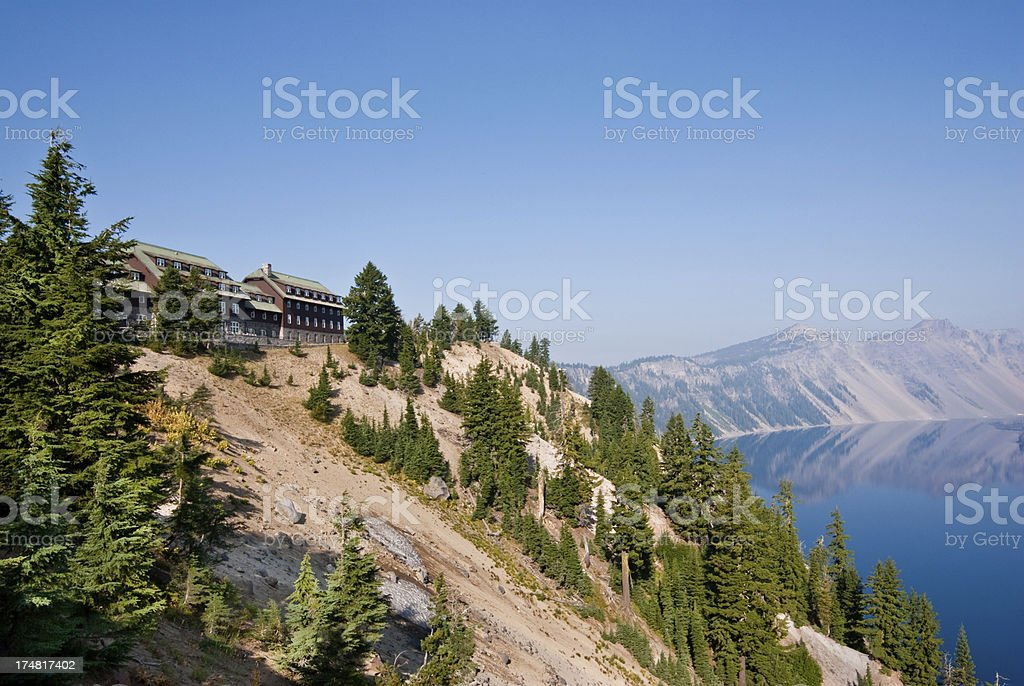 Historic Lodge Above Crater Lake stock photo
