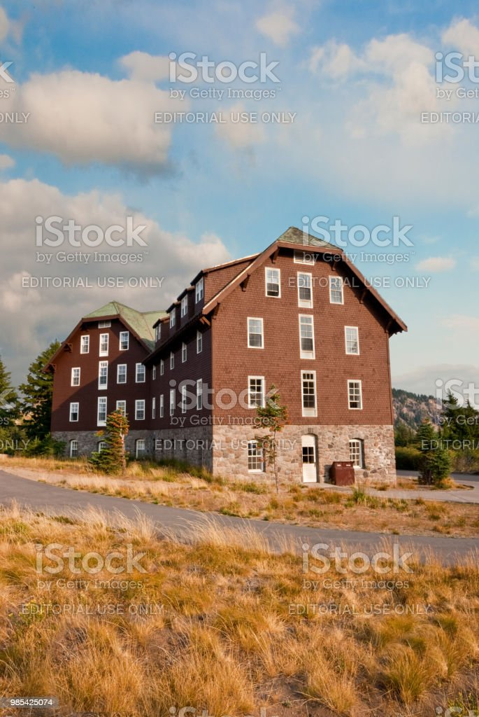 Historic Crater Lake Lodge in the Evening stock photo