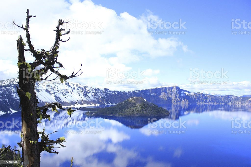 Crater Lake National Park in snow royalty-free stock photo