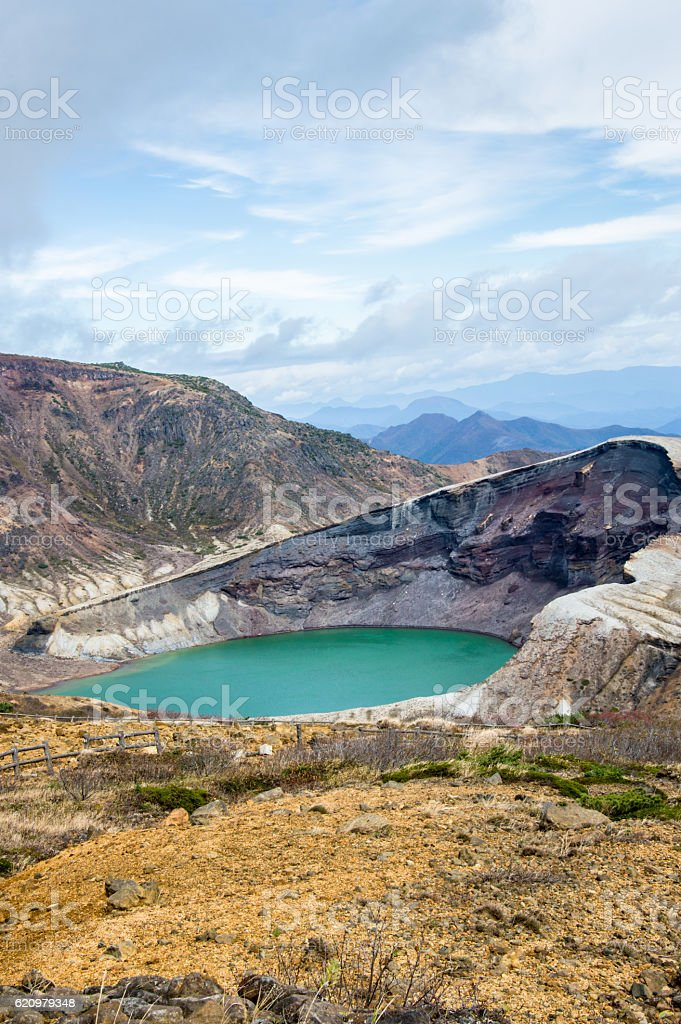 Crater Lake on a day in October in Japan, Zao stock photo