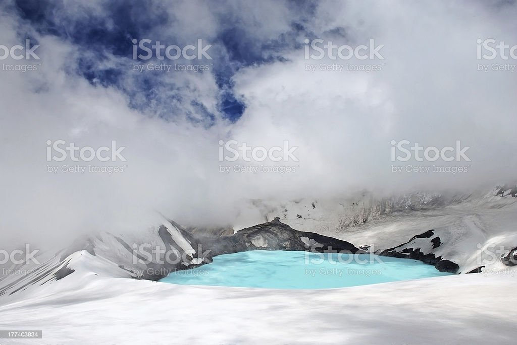 Crater lake on top of Mt Ruapehu stock photo