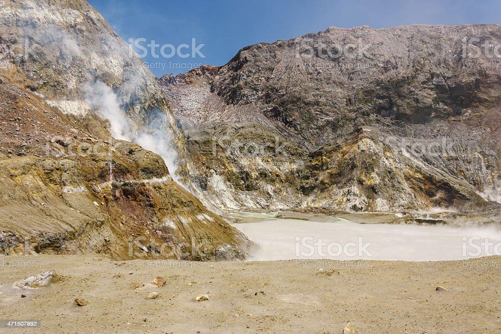 crater lake on White Island stock photo