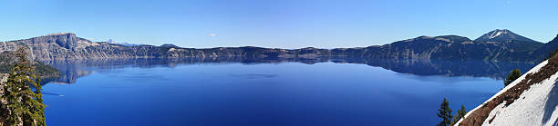 Crater Lake, Or Panorama wide stock photo