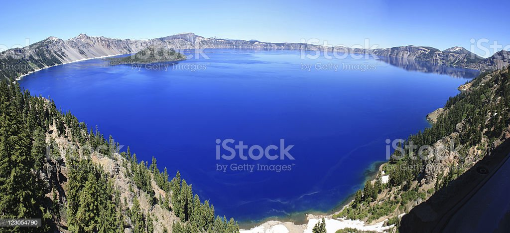Crater Lake, Or. Panoramic stock photo