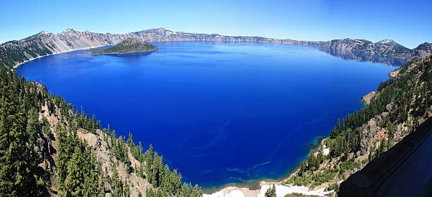 Crater Lake, Or. Panoramic stock photo