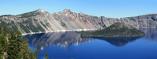 crater lake, OR Panoramic with Island stock photo