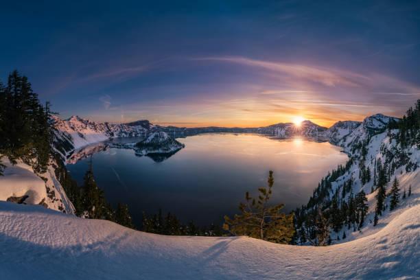 Crater Lake sunrise stock photo