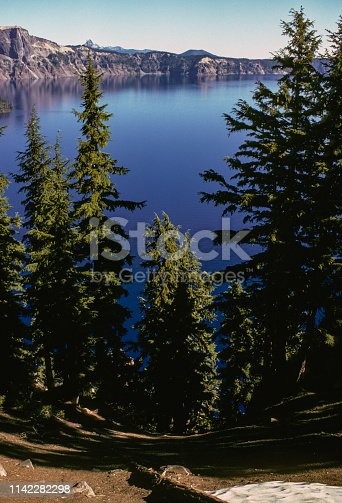 Crater Lake National Park - Crater Lake & Trees - Vertical - September 1983. Scanned from Kodachrome slide.