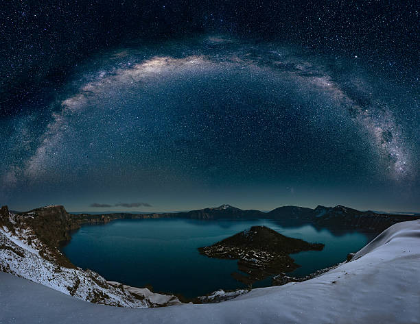 Crater lake with milkyway stock photo