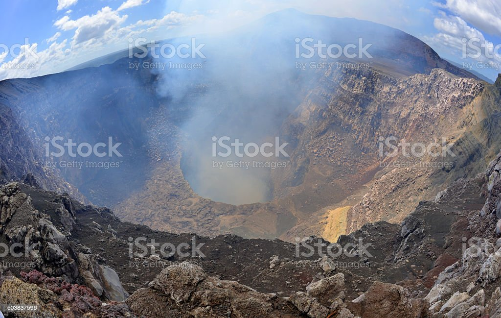 Crater of an active volcano stock photo